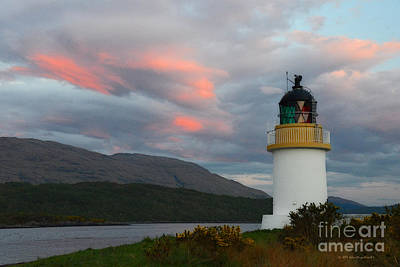 Photograph - Sunset Lighthouse Inverscaddle Bay Loch Linnhe Scotland by Schwartz Nature Images