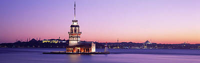 Sentry Photograph - Sunset Lighthouse Istanbul Turkey by Panoramic Images