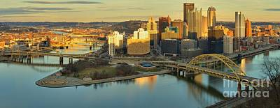 Photograph - Sunset Lights On Pittsburgh by Adam Jewell
