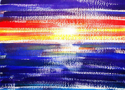 Sunset Abstract Painting - Sunset Lines Abstract by Irina Sztukowski