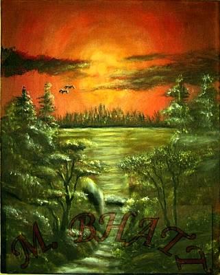 Sunset Art Print by M bhatt