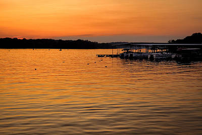 Percy Priest Lake Photograph - Sunset Marina by Diana Powell
