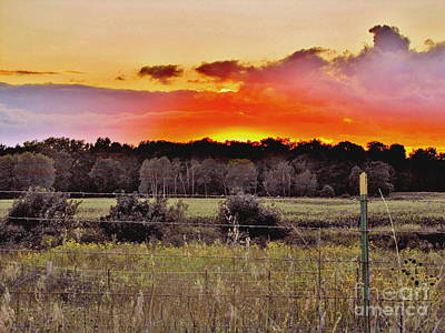Farm Scene Photograph - Sunset Meadow by Marilyn Smith