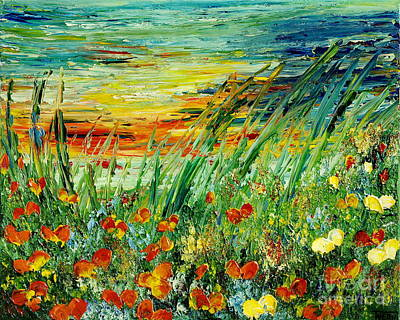 Painting - Sunset Meadow Series by Teresa Wegrzyn