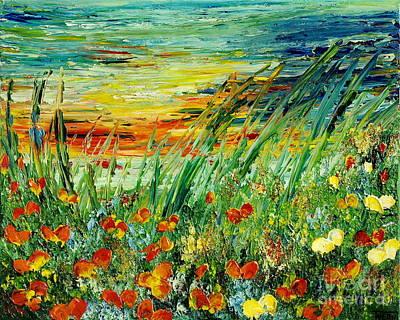 Painting - Sunset Meadow Series by Teresa Wegrzyn