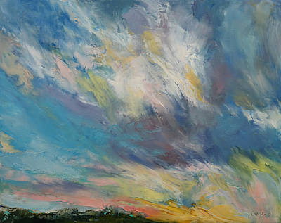 Sunrise Oil Painting - Clouds At Sunset by Michael Creese