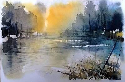 Sunset Mirroring Art Print by Lorand Sipos