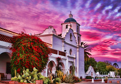 Photograph - Sunset Mission San Luis Rey De Francia By Diana Sainz by Diana Raquel Sainz