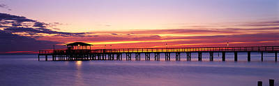 Mobile Al Photograph - Sunset Mobile Pier Al Usa by Panoramic Images
