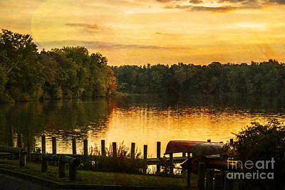Sunset Moon Over Lake Newport Print by Janice Rae Pariza