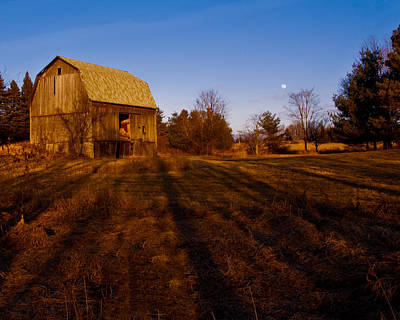 Moon Photograph - Sunset Moon Rise On The Farm by LeeAnn McLaneGoetz McLaneGoetzStudioLLCcom