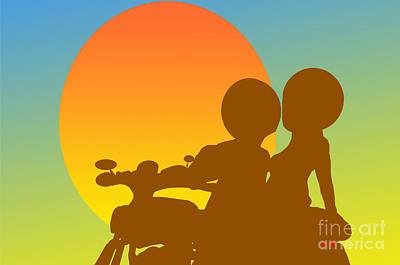 Sunset Motorcycle Art Print
