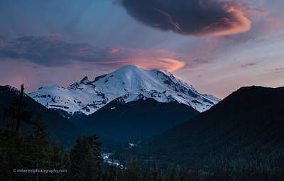 Lenticular Photograph - Sunset Mount Rainier by Mike Reid