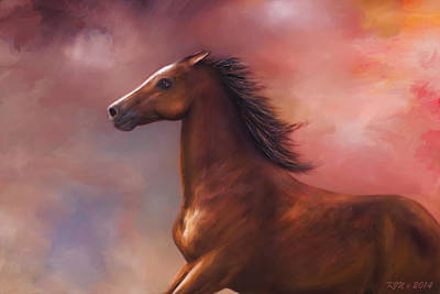 Sunset Mustang Art Print by Kari Nanstad