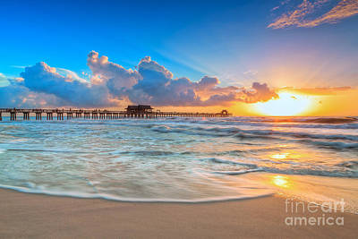 Sunset Naples Pier Art Print by Hans- Juergen Leschmann
