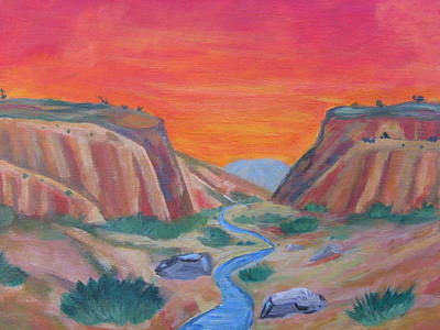 Chama River Painting - sunset near Abiqui  by David Delaney