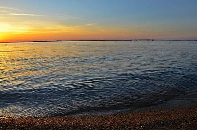 Chesapeake Bay Photograph - Sunset Near Chesapeake Bay Bridge by Marianna Mills