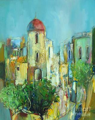 Blue Painting - Sunset Neighborhood by Grigor Malinov
