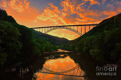 Art Print featuring the photograph Sunset New River Gorge by Dan Friend