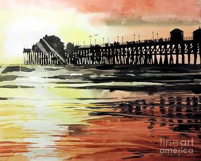 Sunset Oceanside Pier Art Print