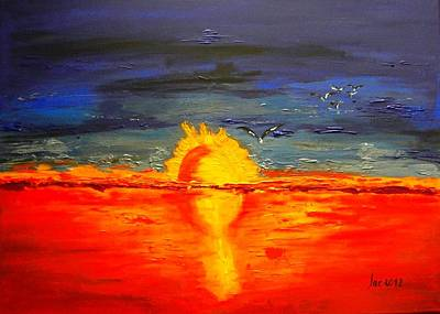 Painting - Sunset Of The Seagulls  by Jacqueline Schreiber