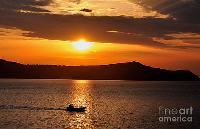 Photograph - Sunset Off The Island Of Santorini by MaryJane Armstrong