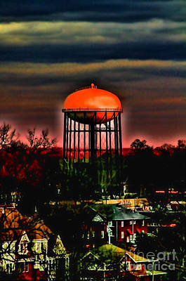 Sunset On A Charlotte Water Tower By Diana Sainz Art Print by Diana Sainz