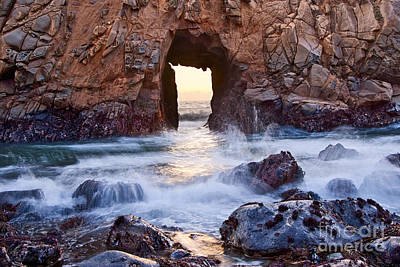 Pfeiffer Beach Photograph - Sunset On Arch Rock In Pfeiffer Beach Big Sur California. by Jamie Pham