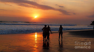 Photograph - Sunset On Black Sand Beach Bali  by Mukta Gupta
