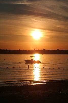Art Print featuring the photograph Sunset On Boat by Karen Silvestri