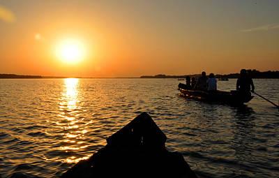 Sunset On Chilika Lake Orissa India Art Print