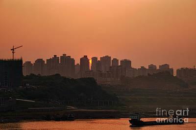 Sunset On Chinese City Art Print by Fototrav Print