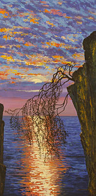 Painting - Sunset On Cliff by Vrindavan Das