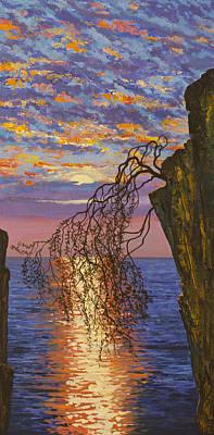 Artdeco Painting - Sunset On Cliff by Vrindavan Das