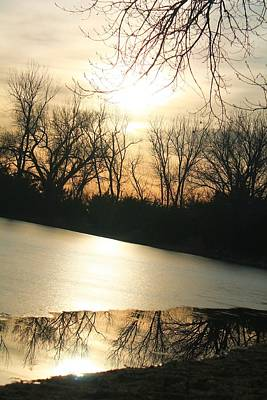 Sunset On Frozen Lake Art Print