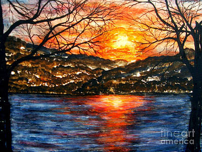 Painting - Sunset On Greers Ferry Lake Arkansas by Vivian Cook