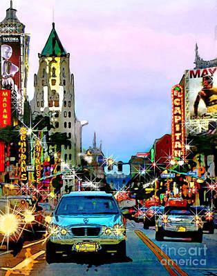 El Capitan Digital Art - Sunset On Hollywood Blvd by Jennie Breeze