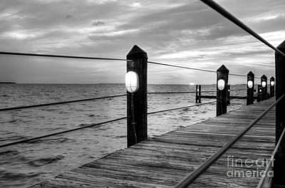 Fishing From Boat Photograph - Sunset On Islamorada Bw by Mel Steinhauer