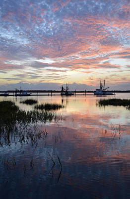 Sunset On Jekyll Island With Docked Boats Art Print