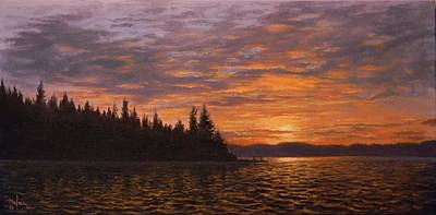 Painting - Sunset On Kayak Point by Paul K Hill