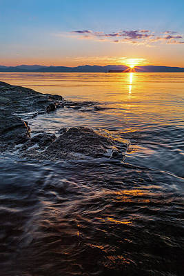 Vermont Photograph - Sunset On Lake Champlain by Photography By Deb Snelson