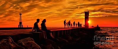 Photograph - Sunset On Lake Michigan Breakwater by Nick Zelinsky