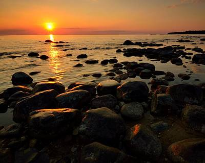 Photograph - Sunset On Lake Michigan by Walt Sterneman