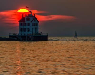 Photograph - Sunset On Lighthouse by Richard Kopchock