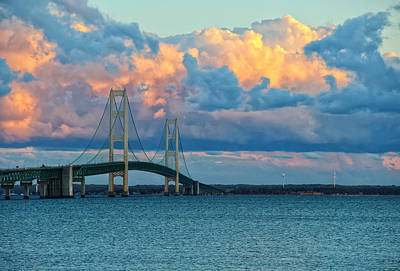 Sunset On Mackinac Bridge Art Print by Rachel Cohen
