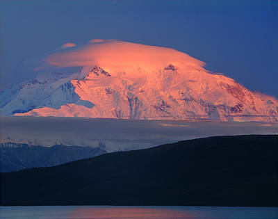 Photograph - 1m1309-sunset On Mt. Mckinley Lenticular Cloud  by Ed  Cooper Photography