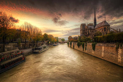 Sunset On Notre Dame Art Print