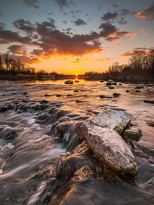 Sunset On River Art Print by Davorin Mance