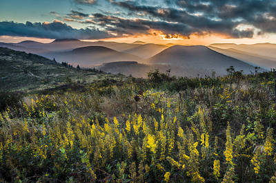 Goldenrod Photograph - Sunset On Sam Knob by Rob Travis