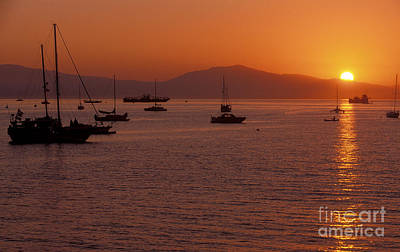 Photograph - Sunset On Santa Barbara Harbor by Sandra Bronstein